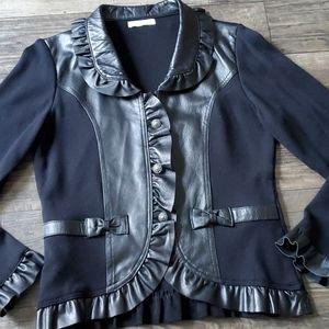 Caprice Lambskin Leather Ruffle and Knit Jacket